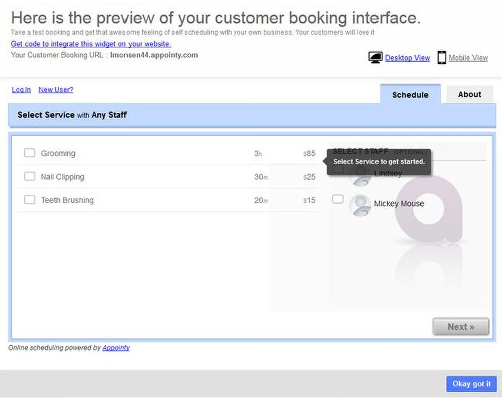 Appointy image: When customers go to set up appointments, you can see a time estimate and price quote.