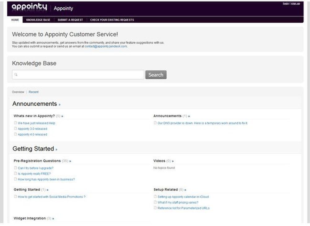 Appointy image: The searchable knowledgebase helps you set up your online scheduler with ease.