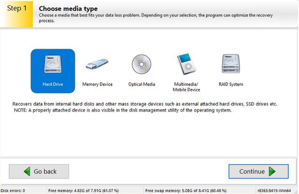Ontrack Easy Recovery lets you recover data from several types of devices, including thumb drives and optical discs.