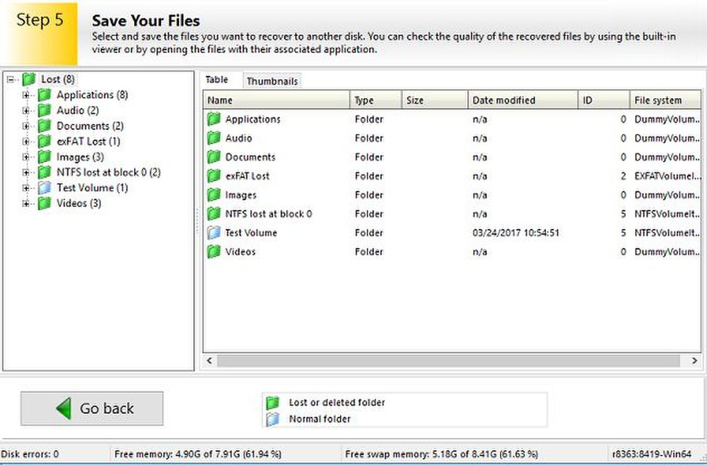 Ontrack organizes found files by file type and format.