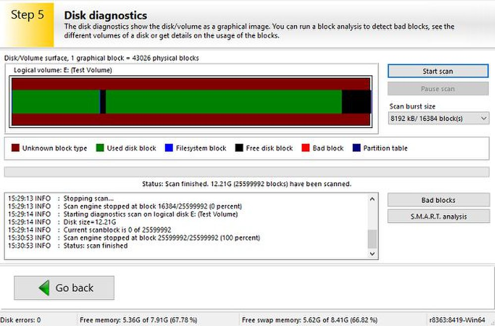 The disk diagnostics feature uncovers damage and irregularities.