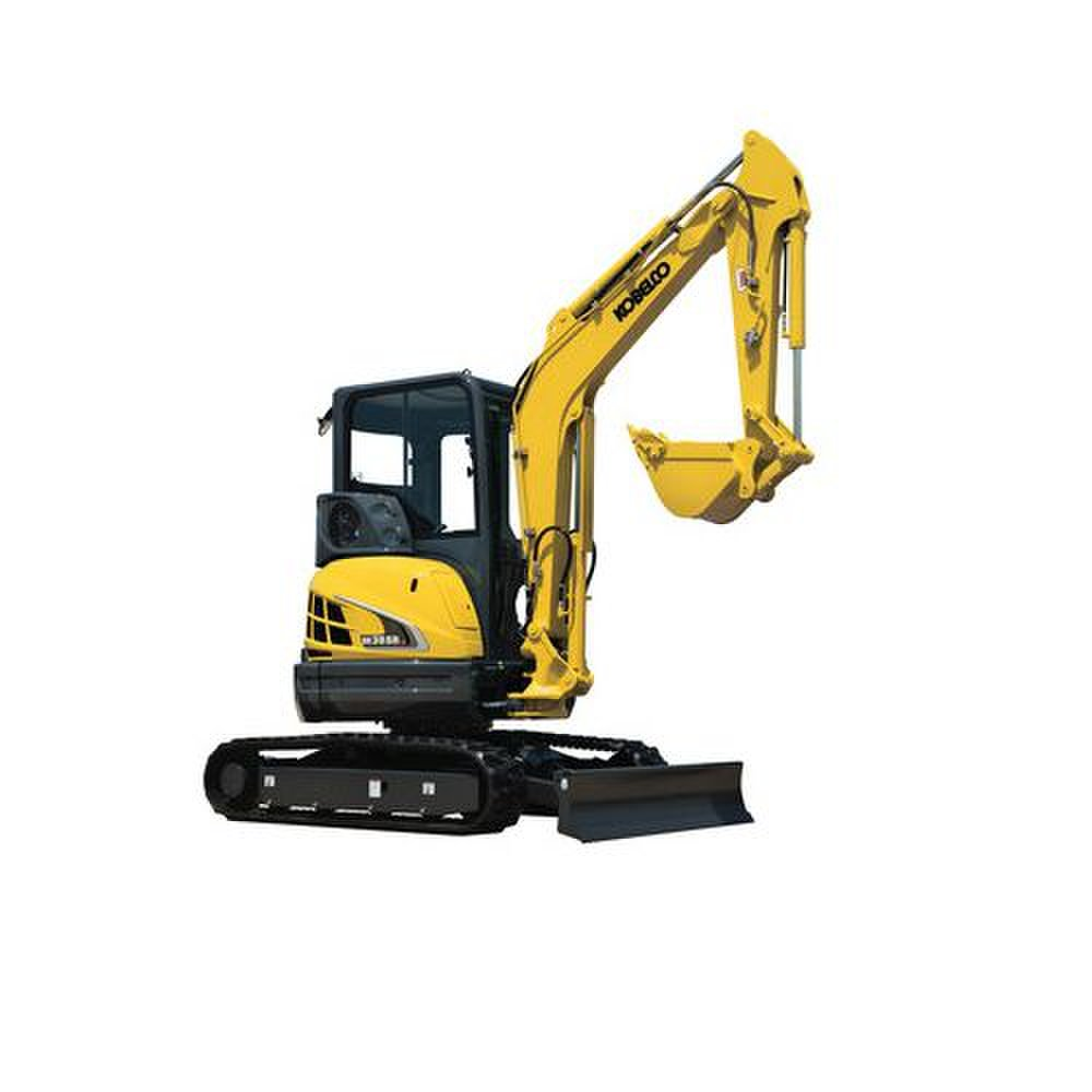 Kobelco SK35SR-5 image: With the tail swing and boom combined, you can dig into walls and very tight spaces.
