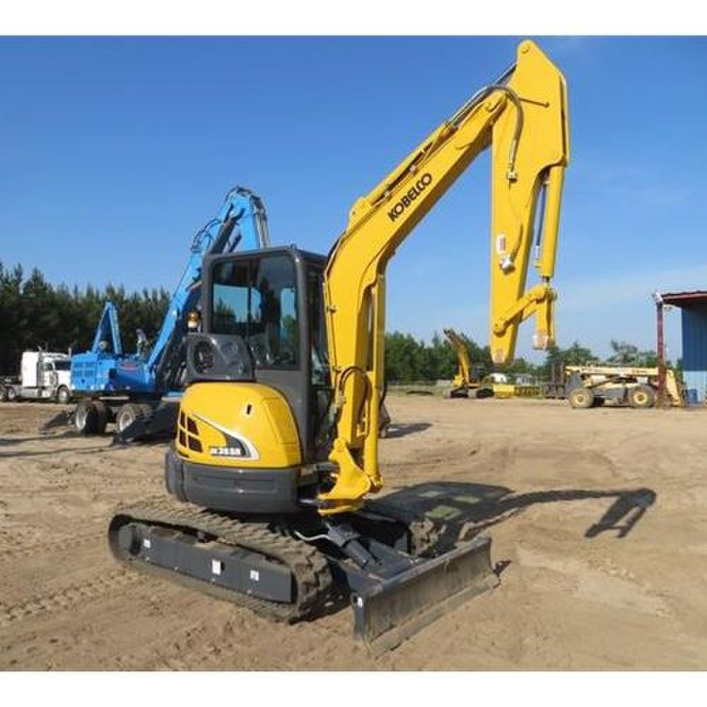 Kobelco SK35SR-5 image: The excavator has rubber tracks with an option of rubber-padded steel tracks.