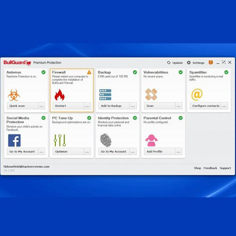 BullGuard Premium Protection image: Since this software is for home use, configuring it is slightly different, including options like parental control, which can still be useful from a business side.