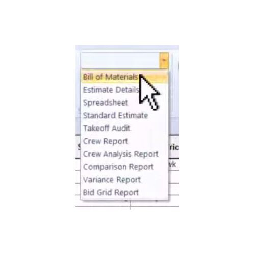 Sage Estimating image: You can generate this list of custom reports with this system.