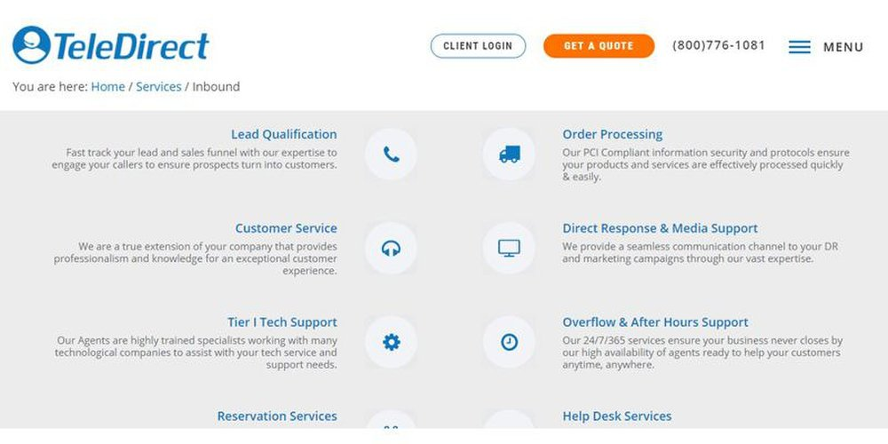 TeleDirect's call center services include order processing and tech support.