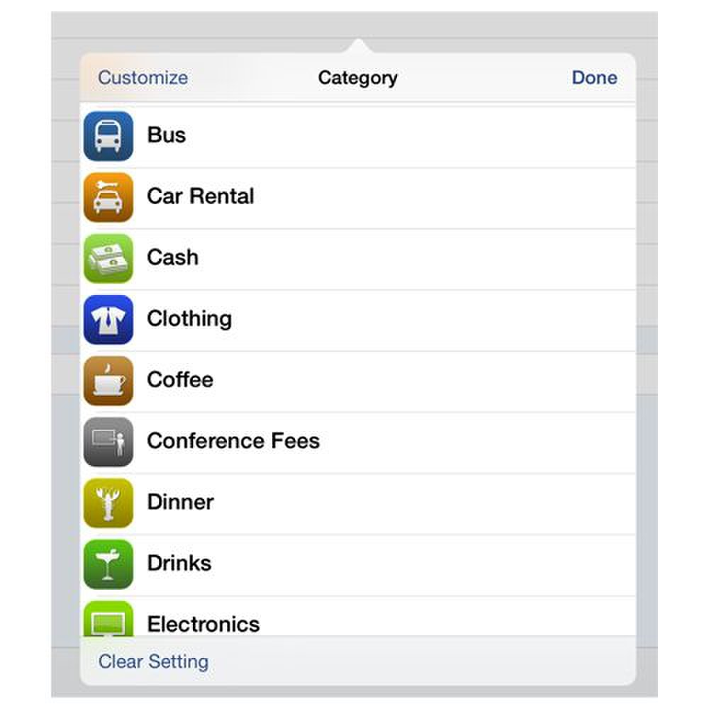 BizXpense Tracker image: Categories are already defined, but you have the option of creating custom ones.