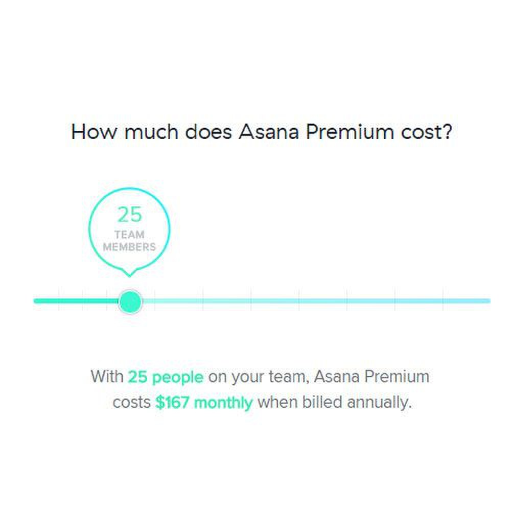 Asana image: The price varies only by number of users.