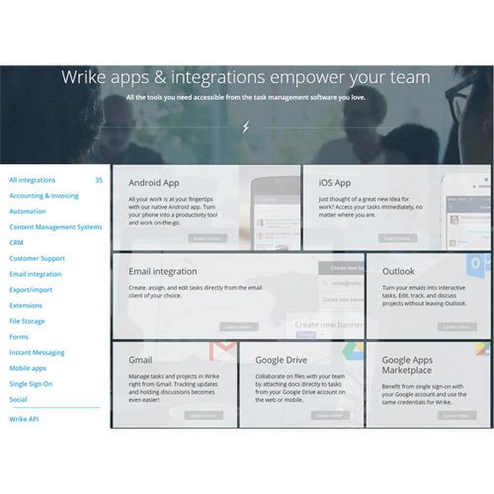 Wrike image: This software has 35 integrations, including accounting, email and common business programs like Salesforce.