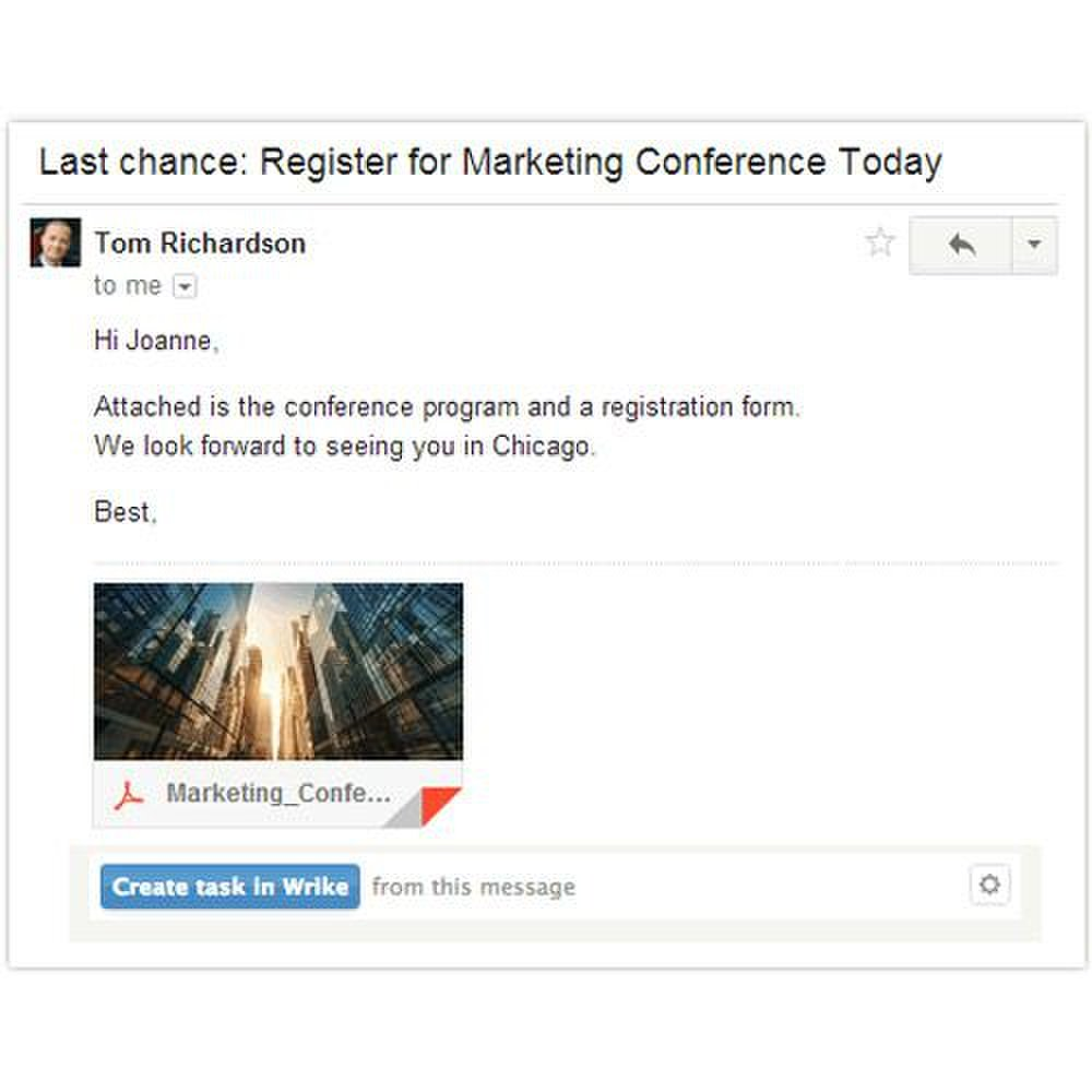 Wrike image: This software integrates with email programs to convert emails into tasks with the click of a button.