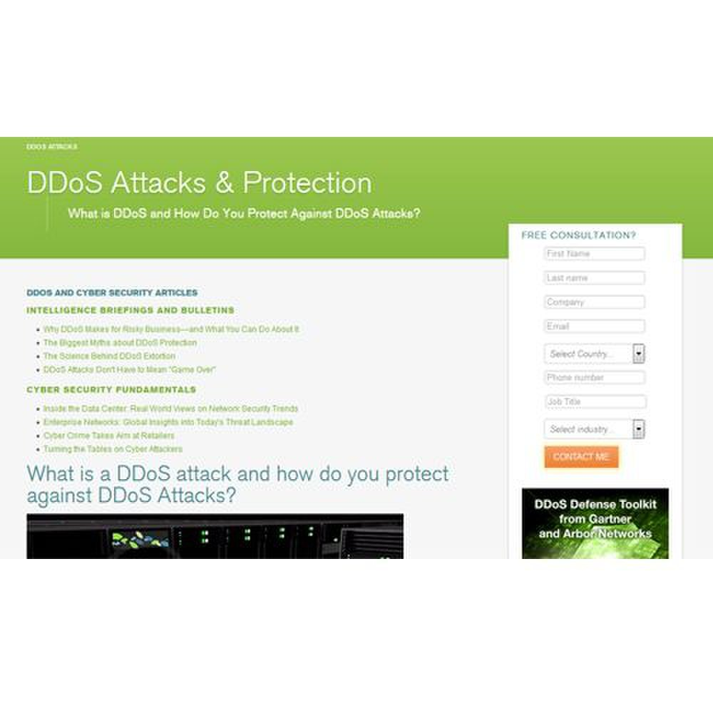 Arbor Cloud image: The website offers several resources that discuss DDoS attacks and how the service can immunize your business against them.