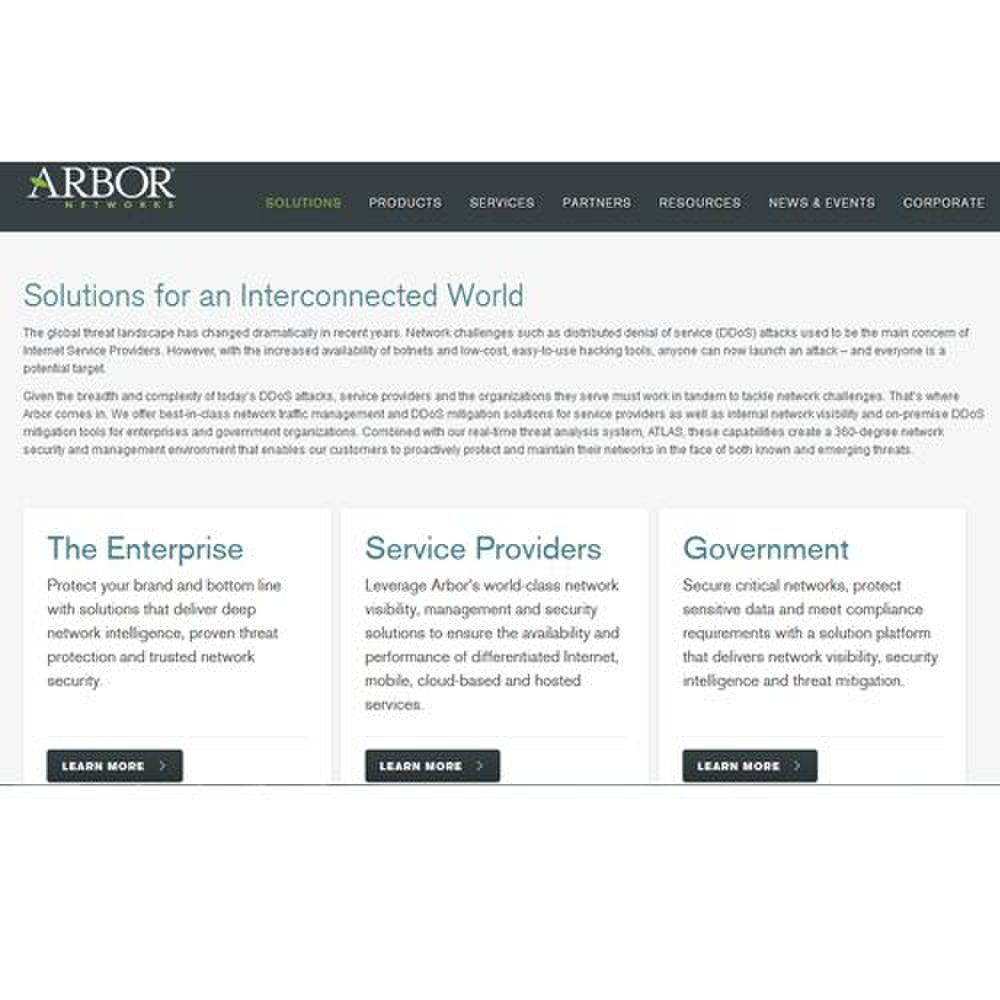 Arbor Cloud image: Arbor Networks offers protection against DDoS attacks for a diverse audience.