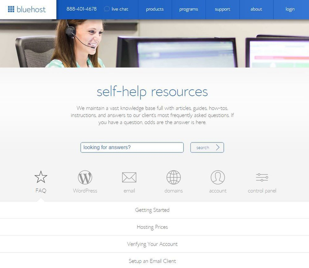 Bluehost image: If you have any questions, you can use Bluehost's self-help resources to find the answers.