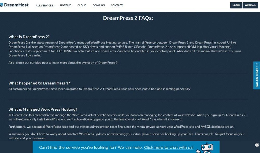 DreamHost image: DreamHost includes a frequently asked questions (FAQs) section directly on its website so you understand exactly what its services are meant to do.