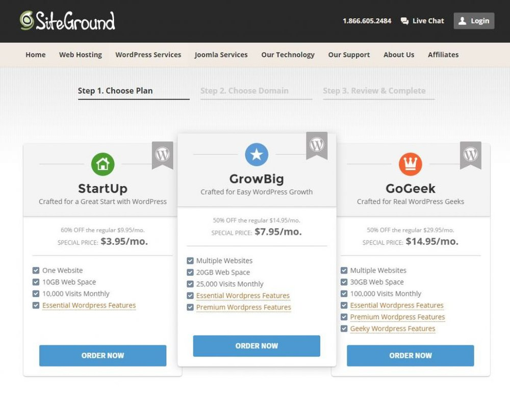 SiteGround image: Three different pricing tiers exist with SiteGround's services, with the differences found mostly in the amount of storage available and the number of visitors your blog can host each month.
