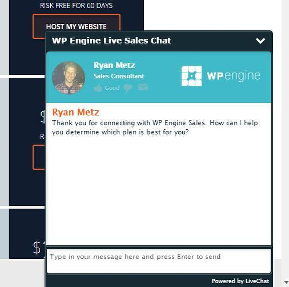 WP Engine image: WP Engine's chat screen pops up automatically to connect you to a representative who can help you choose the right plan for your blog.