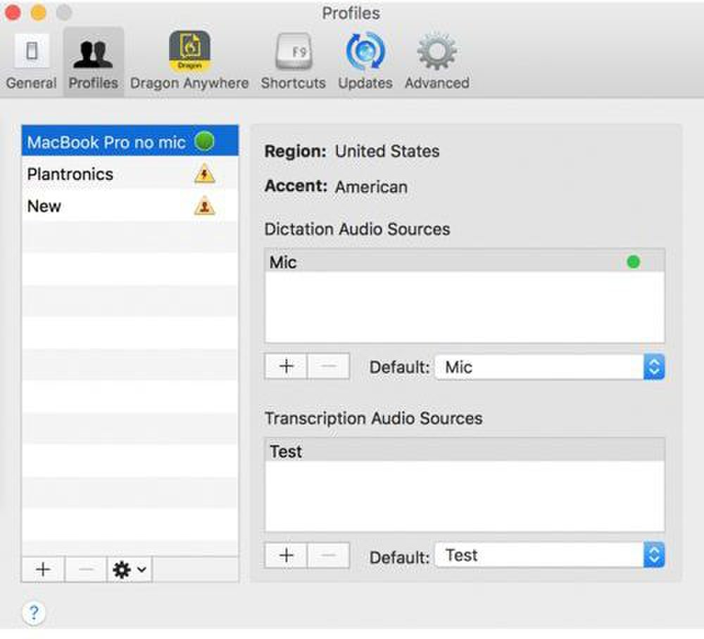 Dragon for Mac image: Setting up a voice profile in the program is easy to do. It includes steps like listing the region of the world you live in and your accent. It will record your voice to become familiar with what you sound like.