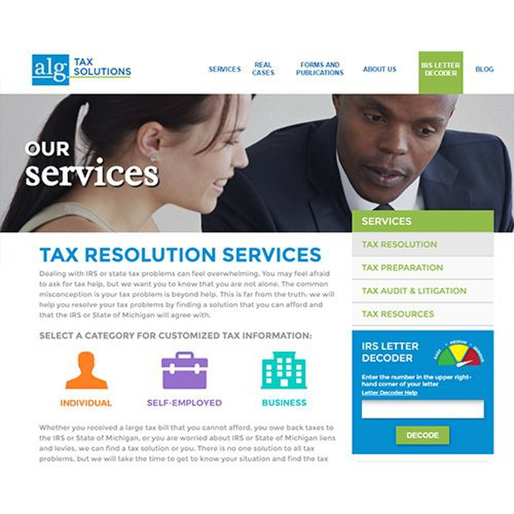 ALG Tax image: ALG Tax can help you with tax problems as an individual, if you're self-employed or if you own a business.