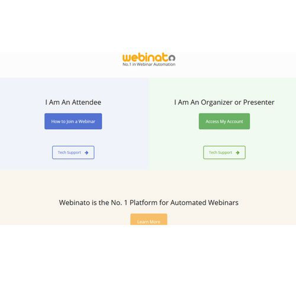 When accessing the Webinato site, you can enter as either an attendee or presenter.