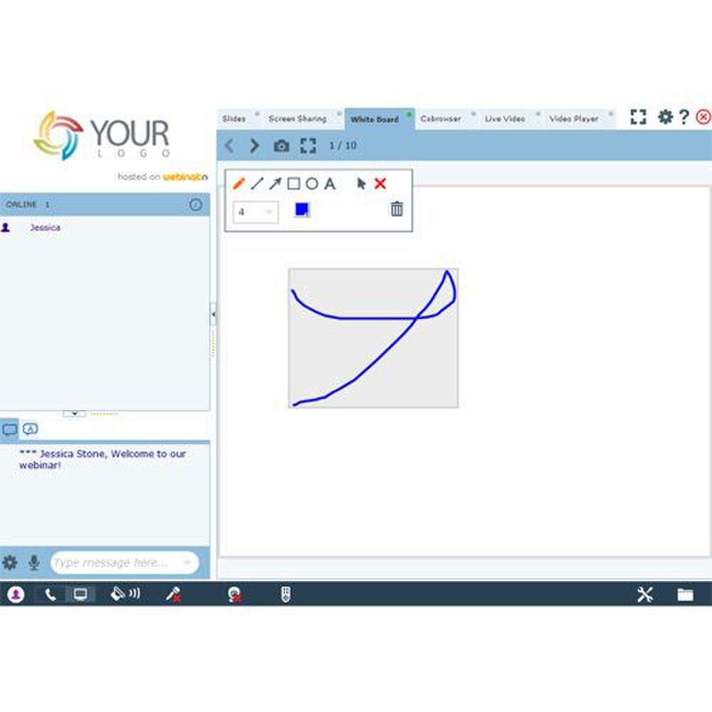 In addition to screen sharing and video players, this platform also has a whiteboard to promote further collaboration.