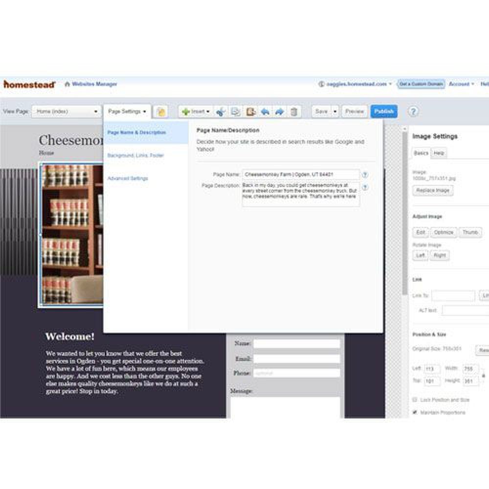 Homestead image: The website manager allows you to easily accomplish tasks, such as updating page names and descriptions.