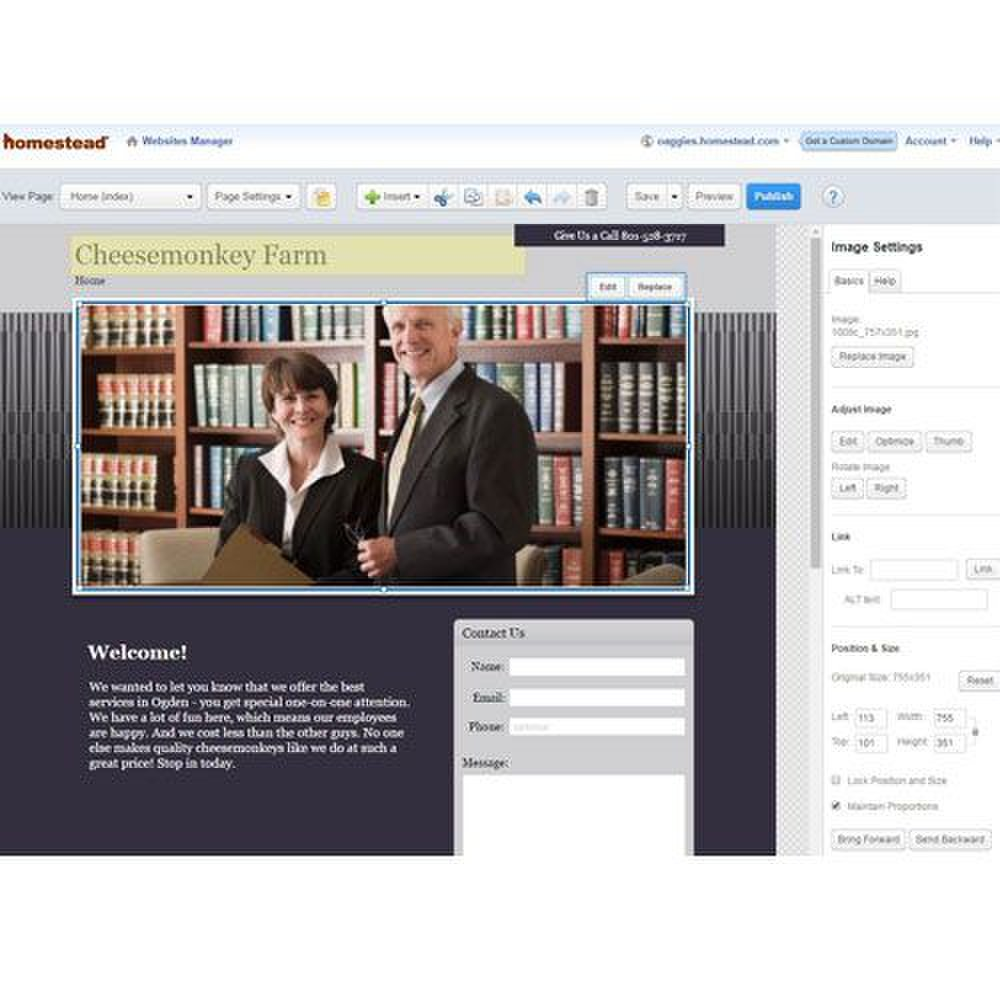 Homestead image: Editing your webpages is a streamlined process with this Mac web design tool.