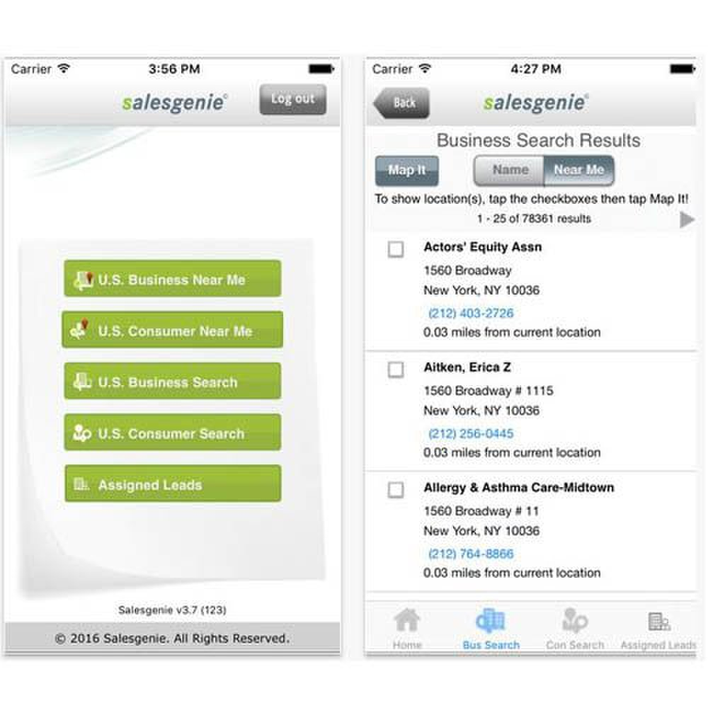 Salesgenie image: The company has an app for smartphones and iPads, which may be a useful tool for your sales team when they're in the field rather than in the office.