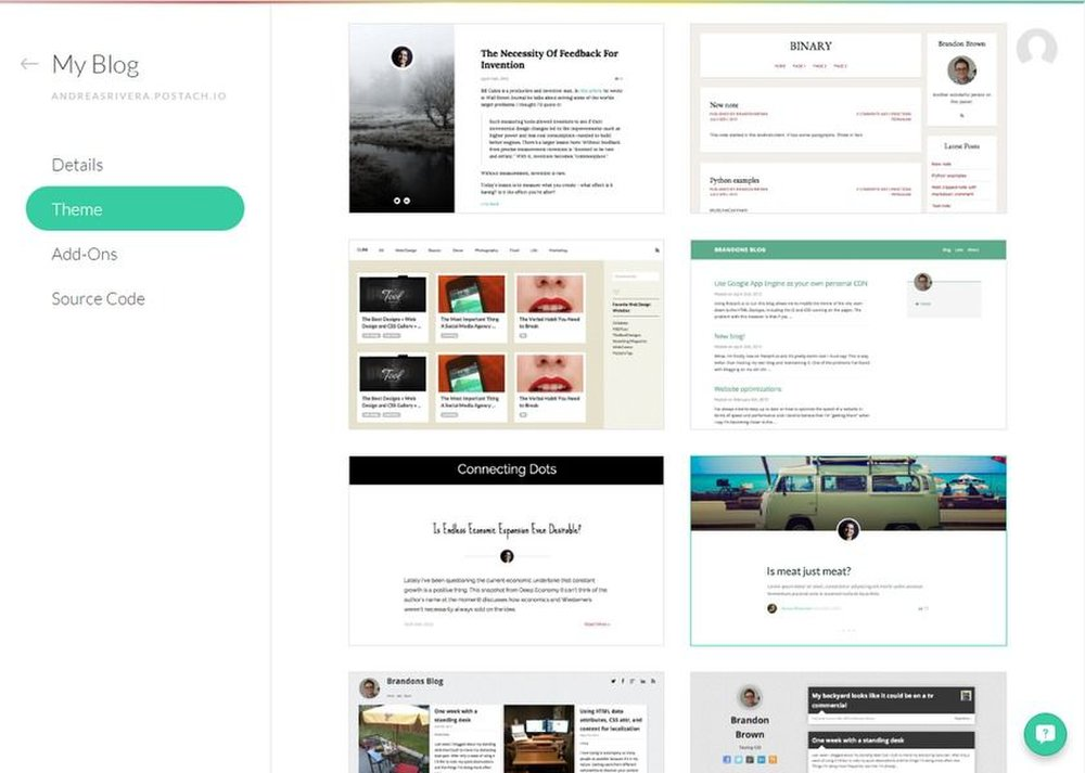 Postach.io image: Templates are open source and fully customizable using HTML.