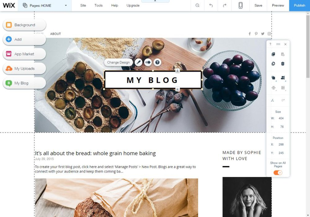 Wix image: To design your blog, you begin by changing the layout of your chosen template with the drag-and-drop interface.