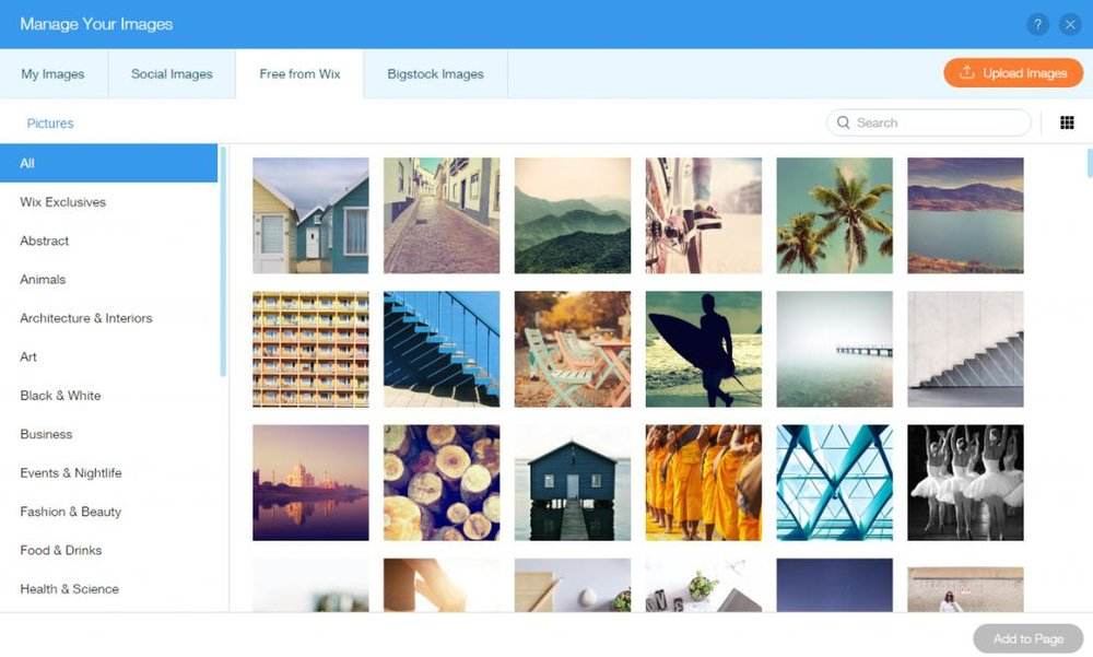 Wix image: You can select from a massive library of free and paid stock images to add to your blog.