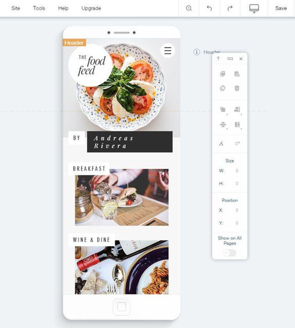 Wix image: A mobile editor allows you to customize the look of your mobile site just as you can in the browser version.