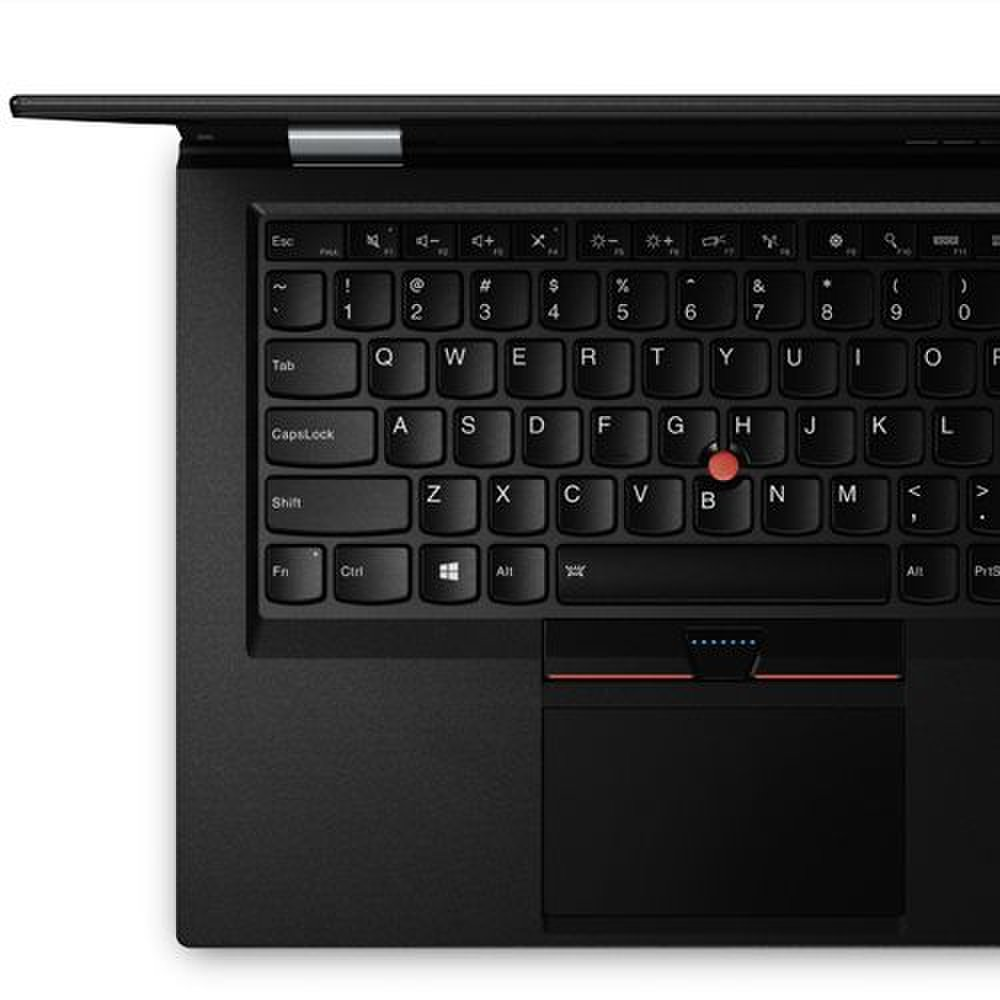 Lenovo ThinkPad X1 Carbon image: The X1 carbon features a full-size, spill-resistant keyboard with backlit keys and a dual-pointer setup that offers both a clickable touchpad and Lenovo's iconic red TrackPoint.