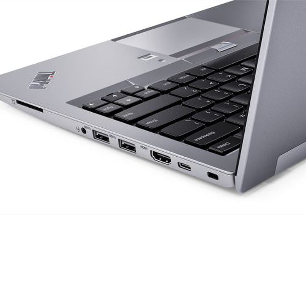 Lenovo ThinkPad 13 image: On the right side, there is a case lock slot, a USB-C port, HDMI output, two USB 3.0 ports, a headset jack and a full size SD card slot.