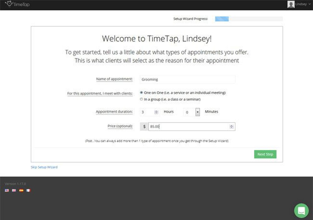 TimeTap image: This software's wizard helps you set up the online scheduler with ease.
