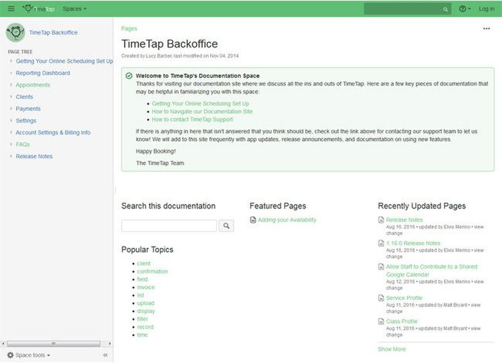 TimeTap image: This service has several resources, as well as documentation, to help you set up an online scheduler with ease.
