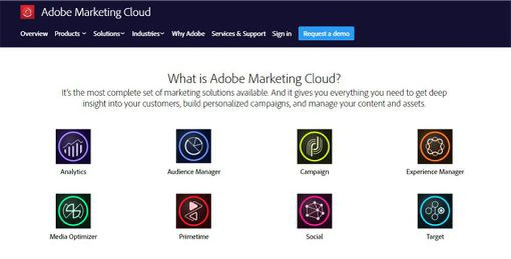 Analytics, social marketing, a media optimizer and other tools comprise the Adobe Marketing Cloud.
