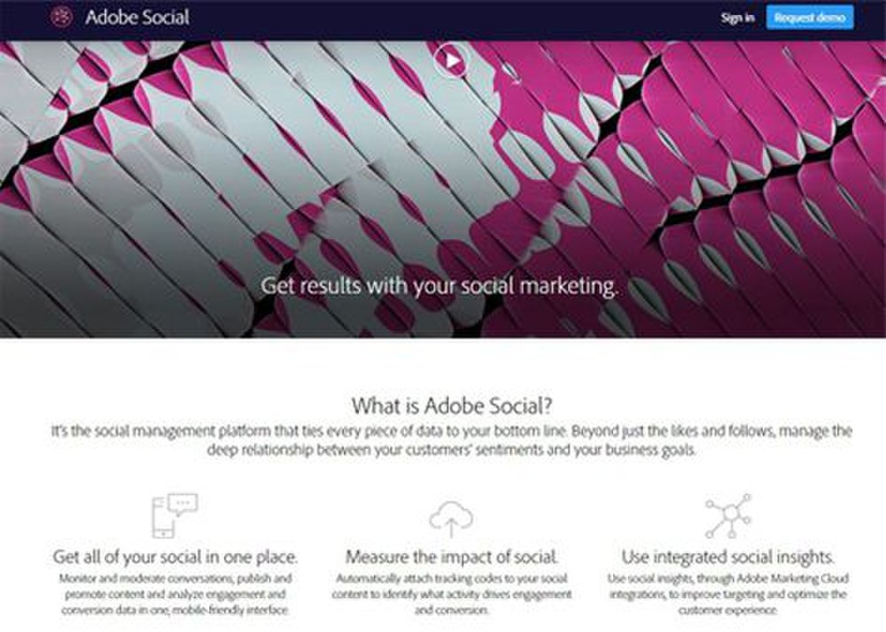 The Adobe Social tool allows you to moderate conversations and use social insights across your social media channels.