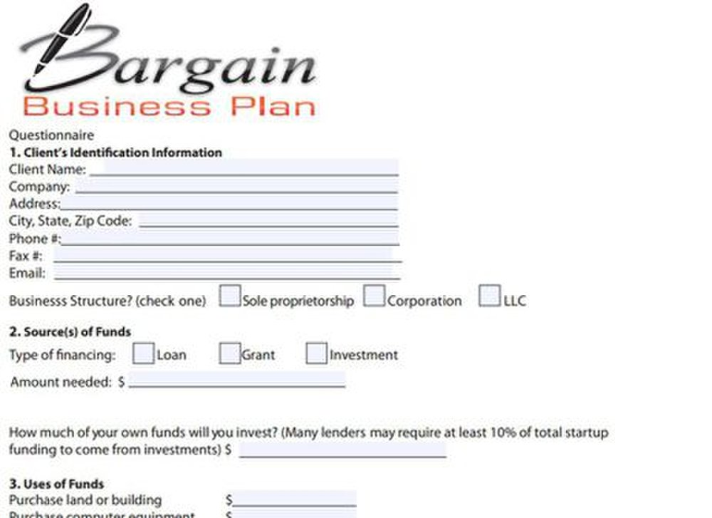 Bargain Business Plan image: When you request a plan, you'll need to fill out a questionnaire.