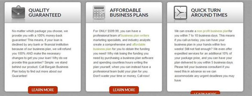 Bargain Business Plan image: This service boasts quick turnaround times.