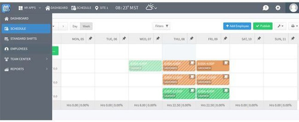 Zip Schedules image: You can color code the schedule by shift, so it's easier to identify where employees need to be scheduled.