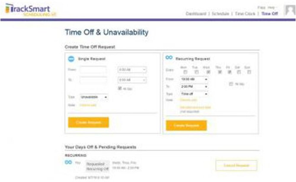 TrackSmart image: Time-off requests can be submitted as a single request or on a recurring basis, if employees consistently need a specific day and time off.