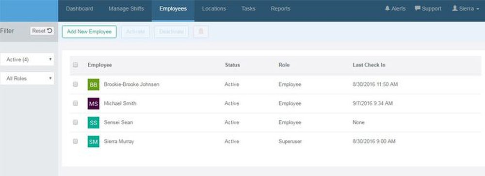You can see a list of employees and the time they last checked in to work from the online admin portal.