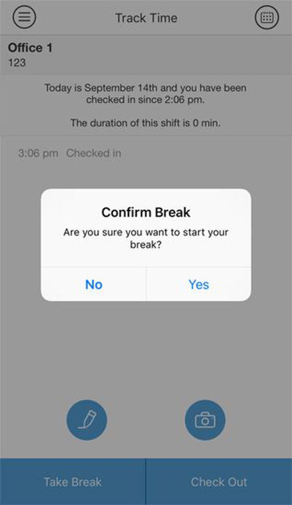 Taking a break is as easy as clicking the Take Break button and confirming the start of a break in the Boomr smartphone app.
