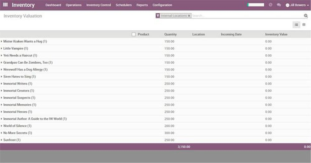 Odoo image: Along with tracking inventory amount, Odoo can also track the value of your inventory based on how much it cost to purchase each product.