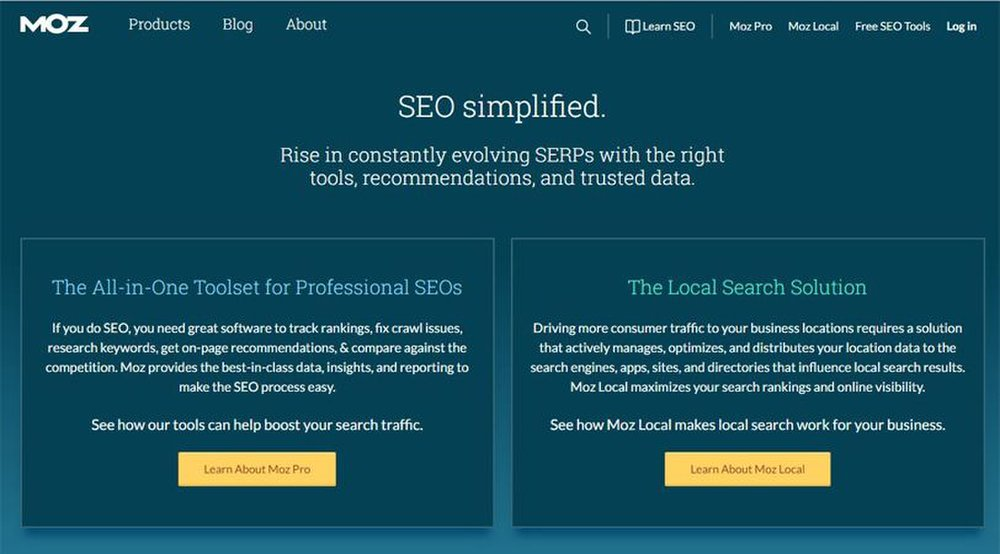 Moz Pro image: Moz offers two solutions: one for local SEO, and one all-encompassing suite with multiple SEO tools.