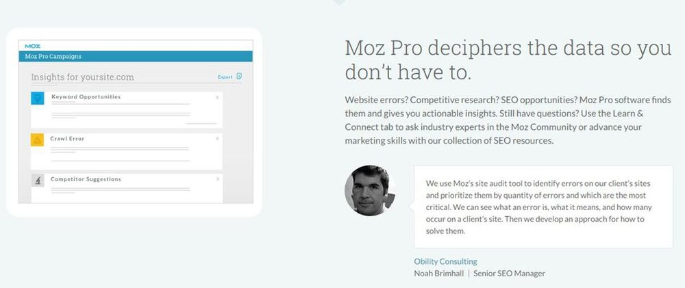 Moz Pro image: After it gathers relevant information, this program interprets the raw data to help you easily understand what steps you need to take for your SEO campaign.