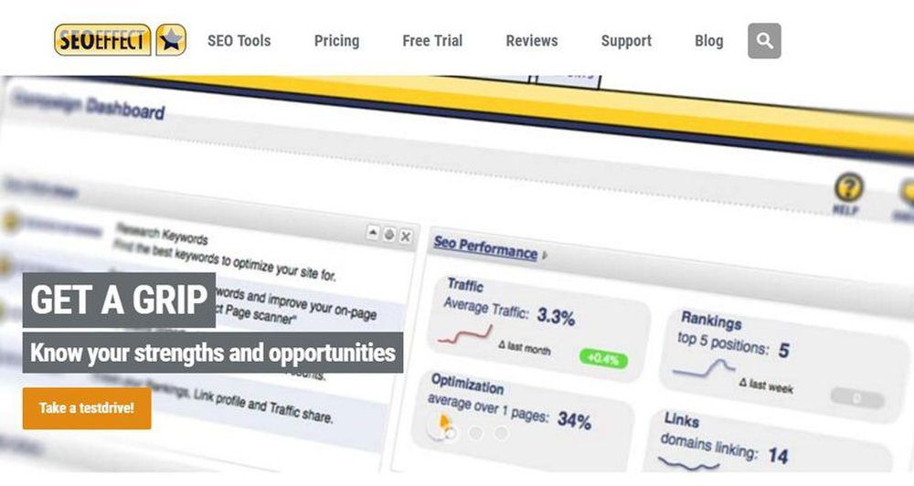 SEO Effect image: This program helps you track your traffic, rankings, optimization and links.