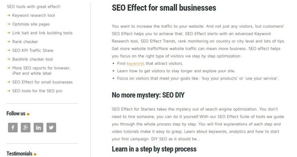 SEO Effect image: Small businesses might especially find SEO Effect useful with its step-by-step process for beginners.