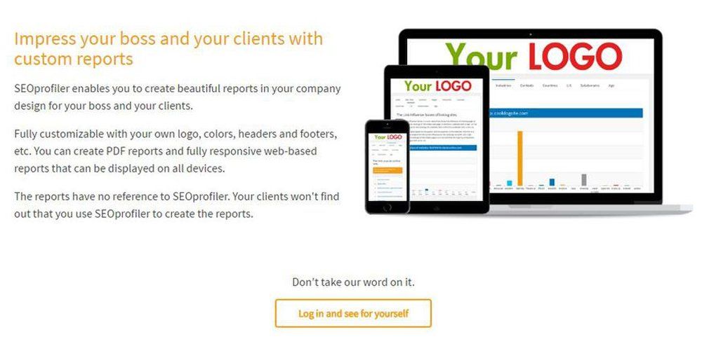 SEOprofiler image: You can customize and brand reports created by SEOprofiler.