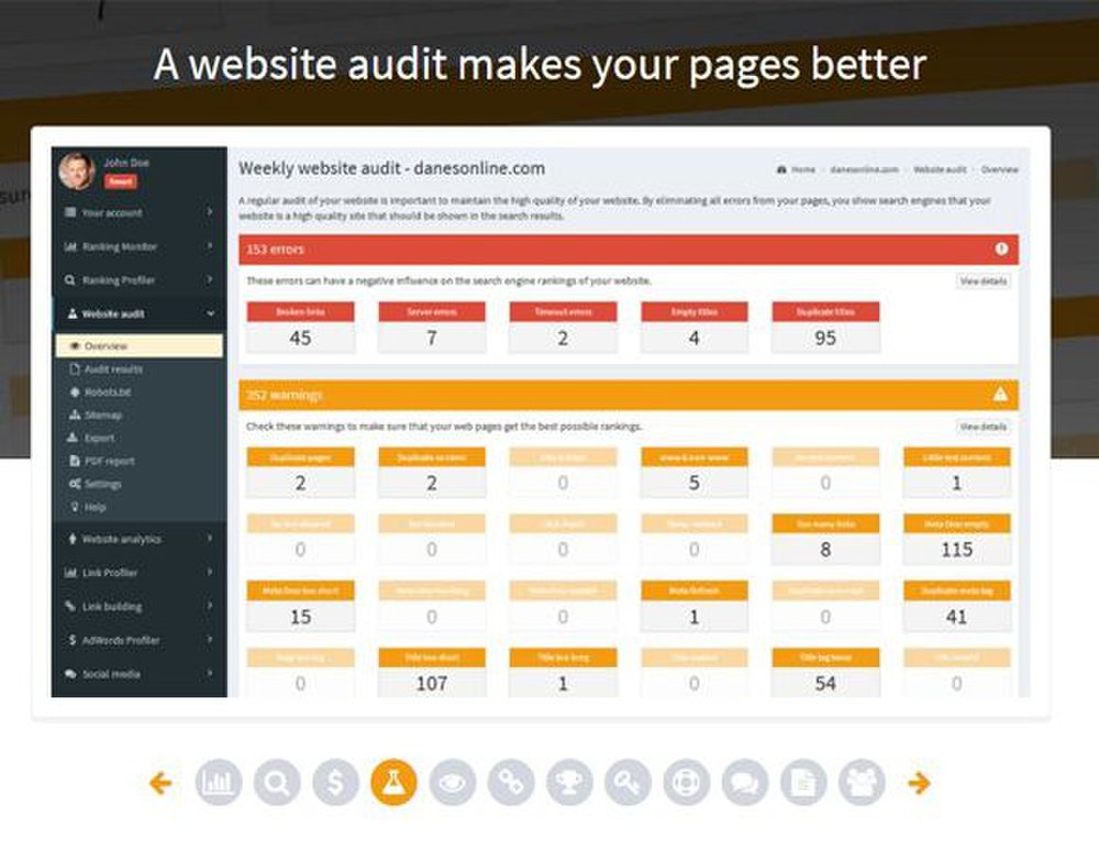 SEOprofiler image: You can audit your website weekly to see where you can improve your site for search engine rankings.